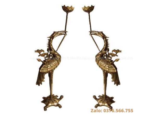 Đôi hạc thờ bằng đồng cao cấp- nghệ nhân Nguyễn Tấn Đích