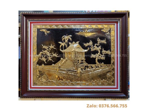 Tranh đồng chùa Một Cột mạ vàng