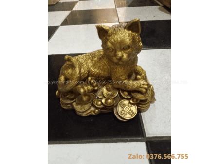 Tượng mèo phong thủy bằng đồng cao cấp